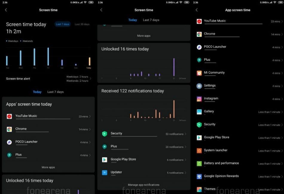 الإصدار التجريبي من MIUI 10 يحصل على ميزة Digital Wellbeing مع إمكانية الحد من وقت الشاشة